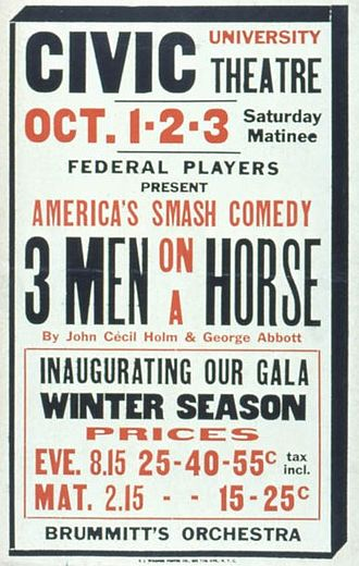 Three Men on a Horse - Poster for a 1937 performance