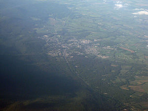 Thurmont, Maryland - Oblique air photo of Thurmont, facing northeast, with Catoctin Mountain to the left.