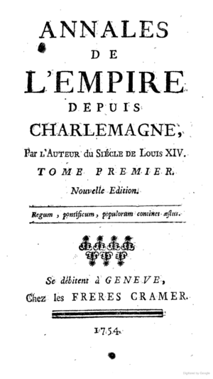 Annals of the Empire - Image: Title page Voltaire Annales de l'Empire