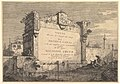 Title plate of 'Vedute altre prese da i luoghi altre ideate', with title and publication information inscribed into a wall plaque at the edge of a canal MET DP827719.jpg