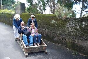 Toboggan riders, Monte, Madeira, Portugal