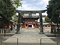 Torii and Romon Gate of Fujisaki Hachiman Shrine.jpg
