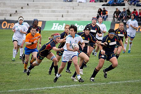 Game of the 2013 Women's European Qualification Tournament for WRWC France 2014 between Italy and Spain 7-38(b).