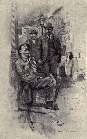 Jacob Riis - Riis walks the beat in New York City behind his friend and fellow reformer, NYC Police Commissioner, Theodore Roosevelt (1894—Illustration from Riis's autobiography)