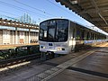 Train for Fukuma Station at Keyakidai Station.jpg