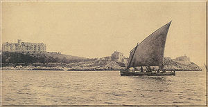 Trainera - Sail fishing trainera cruising the Bay of Santander, Cantabria, in the early 20th century.