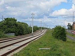 Tram line, Broomhouse Drive (geograph 3510453).jpg