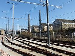 Tram tracks at Haymarket Yards (geograph 3885346).jpg