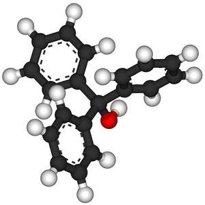 Triphenylmethanol - Image: Triphenylmethanol ball and stick