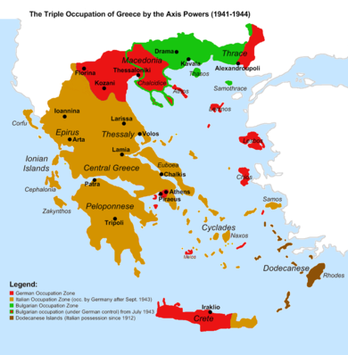 The Axis occupation of Greece. Blue indicates the Italian, red the German and green the Bulgarian. (in dark blue the Dodecanese, Italian possession since 1912) Triple Occupation of Greece.png