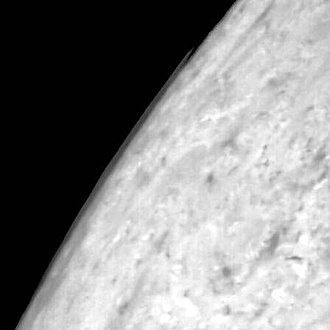 Triton (moon) - Clouds observed above Triton's limb by Voyager 2.