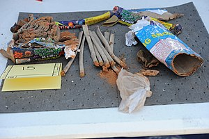 Boston Marathon bombing - FBI photo of emptied fireworks recovered from Dzhokhar Tsarnaev's backpack, found in a landfill near the UMass Dartmouth campus