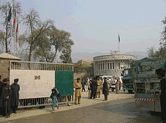 Frontier Constabulary - Kurta wearing Pakistan Frontier Constabulary soldiers at the Torkham border crossing gate.