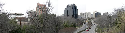 View of Turtle Creek and Turtle Creek Boulevard from a Katy Trail overpass Turtle Creek Pano.jpg