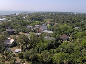 Tybee Island, Georgia - The view south from atop the Tybee Lighthouse