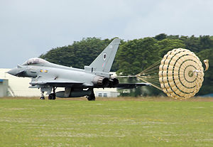 Drogue parachute - RAF Typhoon using a drag parachute for extra braking after landing