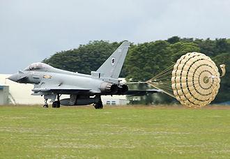 Drogue parachute - RAF Typhoon using a drag parachute for extra braking after landing