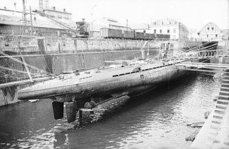German submarine U-123 (1940) - U-37, a U-boat very similar to U-123 at Lorient in 1940. Note the twin rudders