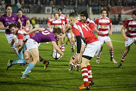 King's traditional rivalry with UCL is nowadays most noted at the yearly varsity rugby match UCL-KCL Varsity Rugby 2014.jpg