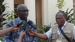 UNSG's Special Advisor on the prevention of Genocide, Adama Dieng speaking to the press in Tshikapa.jpg