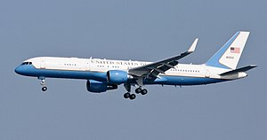 Air Force Two - The Boeing C-32, a variant of the 757, is the usual transportation for the Vice President of the United States