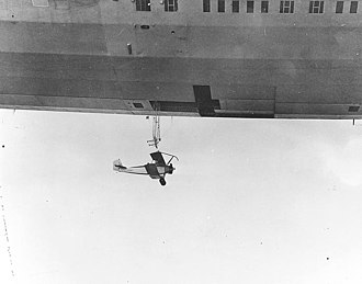 Akron-class airship - An N2Y aircraft is launched from Akron