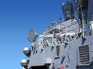 English: US Navy Ship with LRAD system aboard.