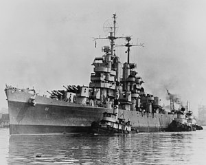 USS Galveston (CL-93) is tugged to the Philadelphia Naval Shipyard on 24 May 1946 (80-G-370144).jpg
