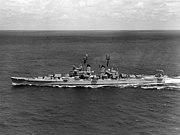 USS Los Angeles (CA-135) underway on 27 April 1959 (NH 97388)
