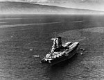 USS Saratoga (CV-3) at anchor at Lahaina on 16 February 1932 (NH 67632).jpg