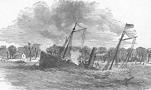 USS Varuna (1861) - USS Varuna sinking