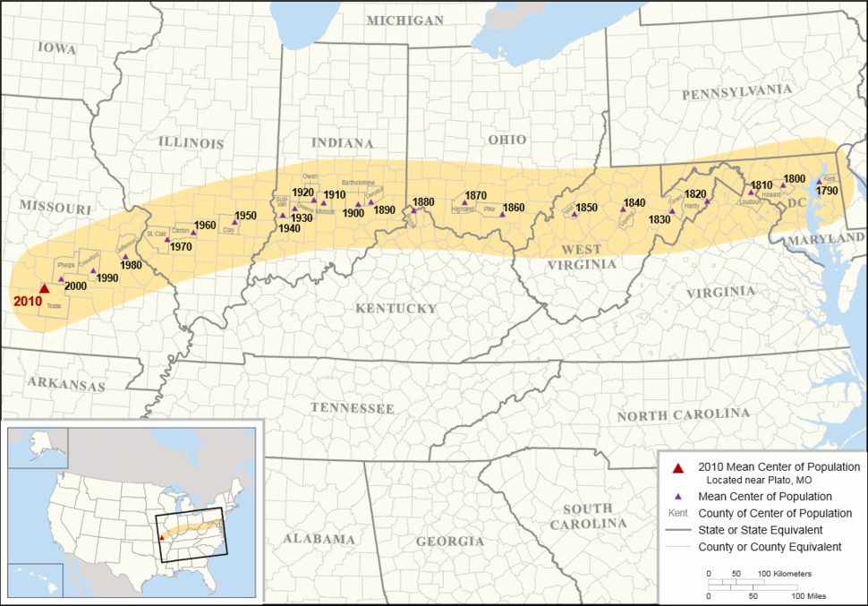 US Mean Center of Population 1790-2010
