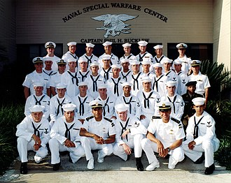 United States Navy SEAL selection and training - The graduating members of BUD/S Class 236 in front of the Naval Special Warfare Center. At the far left of the back row is Medal of Honor recipient Michael P. Murphy