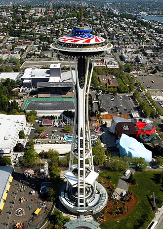 Century 21 Exposition - Aerial photograph of the Space Needle in 2003 decorated for Memorial Day