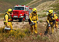 US Navy 050430-N-9500T-003 Firefighters assigned to Marine Corps Air Station (MCAS) Miramar Fire Department use drip torches to start a controlled burn on a fire break on board MCAS Miramar.jpg