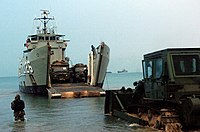US Navy 070622-F-1644L-006 An Australian landing craft heavy offloads military vehicles at Freshwater Bay with the help of U.S. Navy beach masters, assigned to Beach Master Unit (BMU) 1, during exercise Talisman Saber 2007 (TS0.jpg