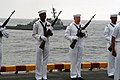 US Navy 070805-N-7955L-111 Sailors from the amphibious assault ship USS Kearsarge (LHD 3) prepare to render honors during a burial at sea ceremony.jpg