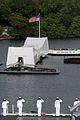 US Navy 081117-N-7730P-215 Sailors render honors to the USS Arizona Memorial.jpg