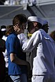 US Navy 090807-N-7498L-345 Information Systems Technician 3rd Class Michael Perryman and his wife say good-bye as the Ticonderoga-class guided-missile cruiser USS Chosin (CG 65).jpg