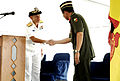 US Navy 090810-N-2725D-119 Rear Adm. Nora Tyson, commander Logistics Group Western Pacific, extends her thanks to Col. Dato Rosli, joint forces commander, Royal Brunei Armed Forces.jpg