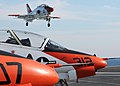 US Navy 100308-N-7908T-228 A T-45A Goshawk training aircraft assigned to Training Wing (TRAWING) 1 lands aboard the aircraft carrier USS George H.W. Bush (CVN 77).jpg