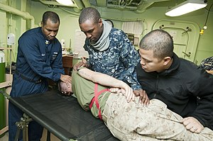US Navy 120130-N-PB383-053 A Sailor checks for secondary wounds on a simulated casualty.jpg