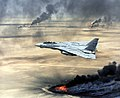US Navy F-14A Tomcat flying over burning Kuwaiti oil wells during Operation Desert Storm.JPEG