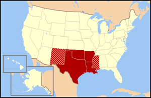 the states shown in dark red are usually included while all or portions of the striped states may or may not be considered part of the south