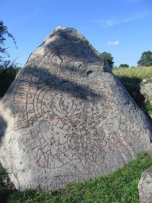 Hovgården - The Hacon Stone runestone from around 1070.