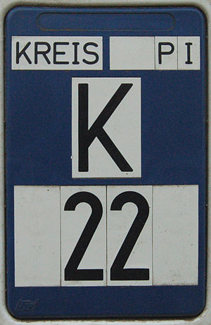 Kreisstraße - Sign for Kreisstraße 22 (K 22) on a marker post