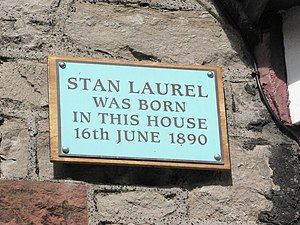 Stan Laurel - Plaque at Laurel's birthplace in Ulverston
