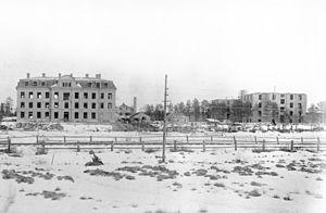Umestan - Västerbotten regiment barracks under construction in 1907.