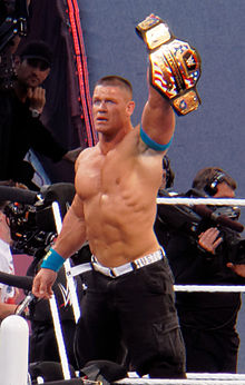 Cena After Defeating Rusev For The United States Championship At Wrestlemania