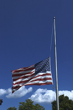 United States of America Flag at Half-mast in New England in Summer 2015